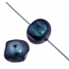 Glass 8X9mm Shaped Cube Beads Metallic Blue - Strung